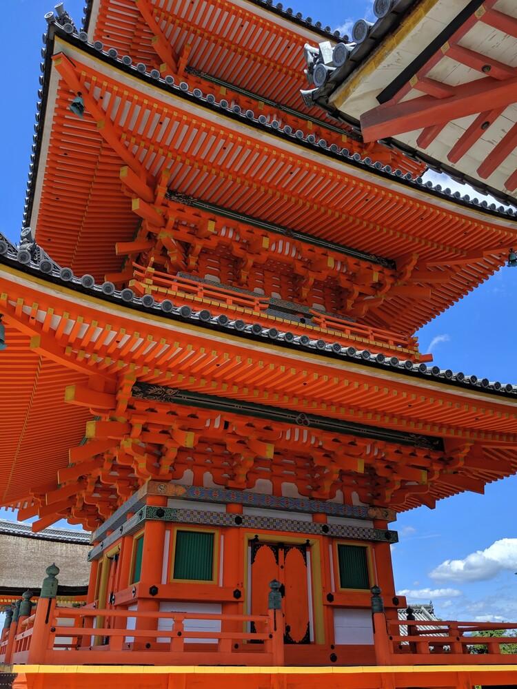 Detail van de pagode van Kiyomizu-dera